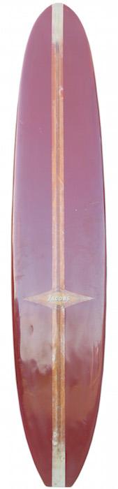 Jacobs 10'0 longboard D-fin, 50/50 rails (1960's)