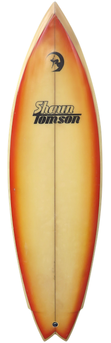 Shaun Tomson twin fin by Mike Baumea (1980)