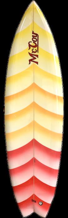 McCoy twin fin surfboard shaped by Greg Pautsch (1980)