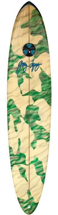 Gerry Lopez shaped camouflage surfboard (late 1980's)