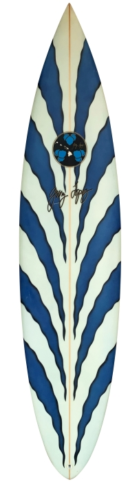Gerry Lopez tiger striped surfboard (mid 1990's)